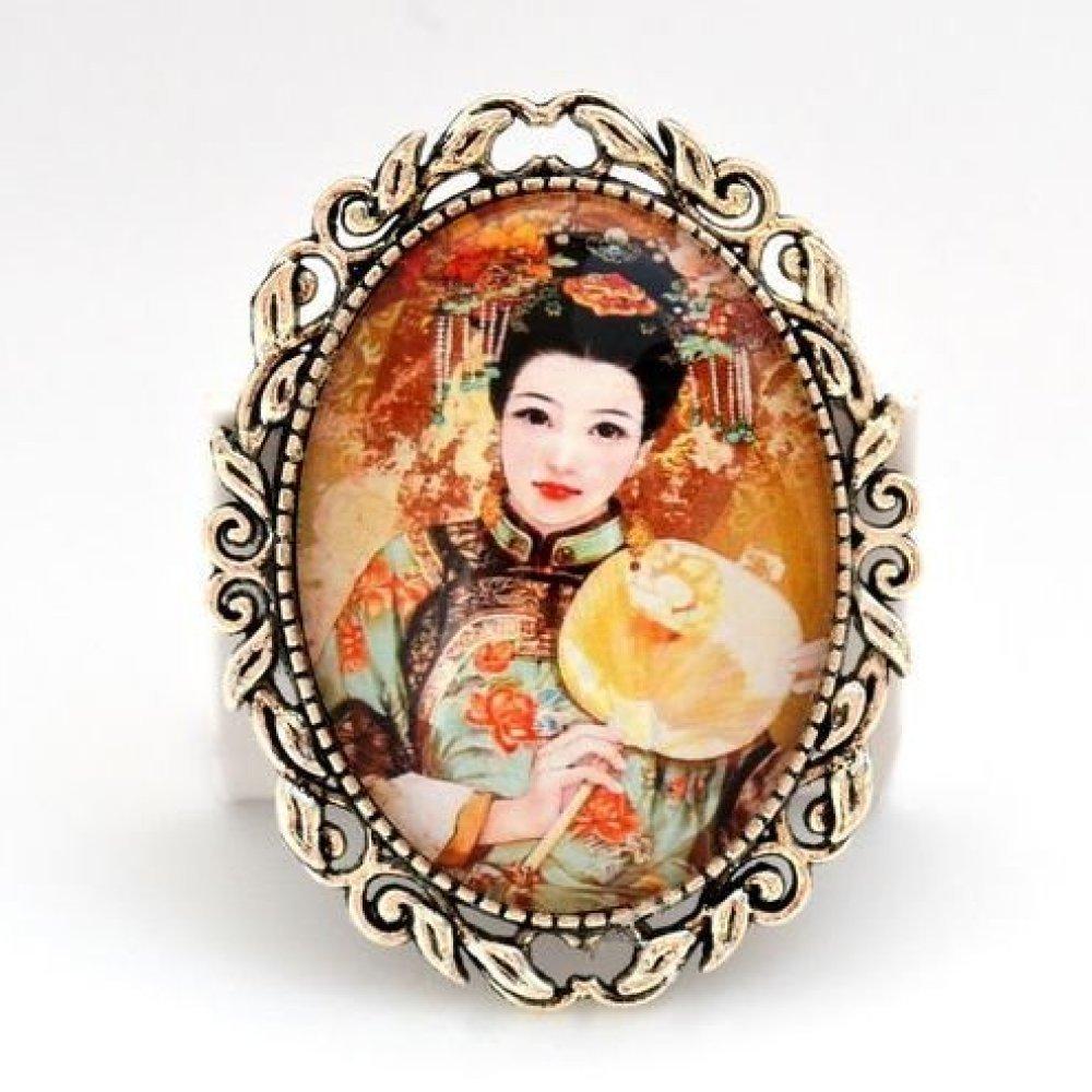 Broche épingle * Princesse de Mandchourie * éventail, Chine ethnique