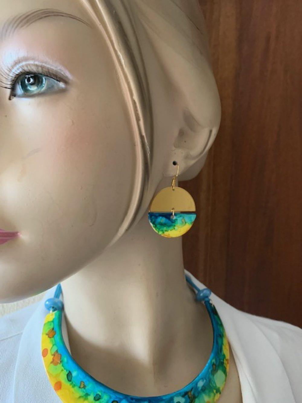 """Boucles d'oreilles """"touches de couleurs"""" rondes"""