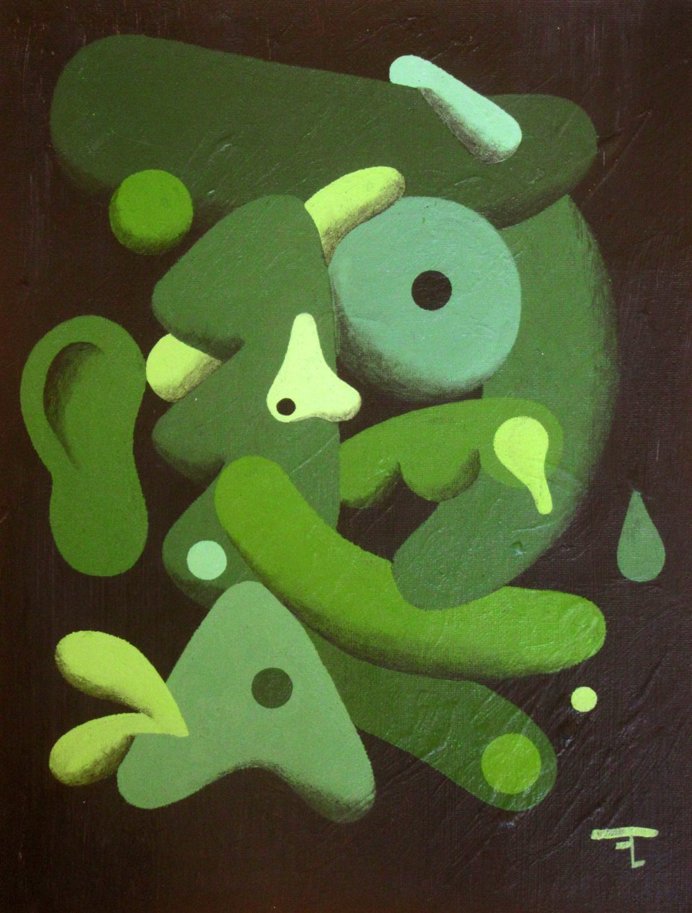Tableau acrylique sur carton entoilé - signé - artiste Flavien Couche