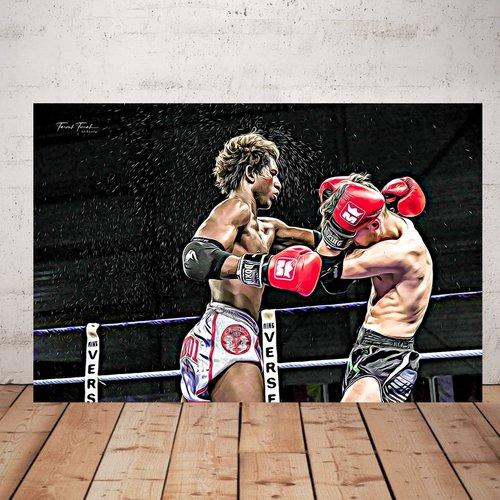 Photographie boxeur  imprimée plexiglas 40 x 60 cm décoration murale