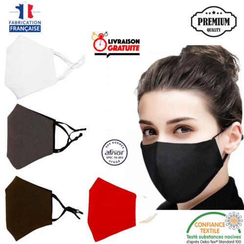 Masque tissu noir lavable 100% coton de qualité premium élastiques ajustables