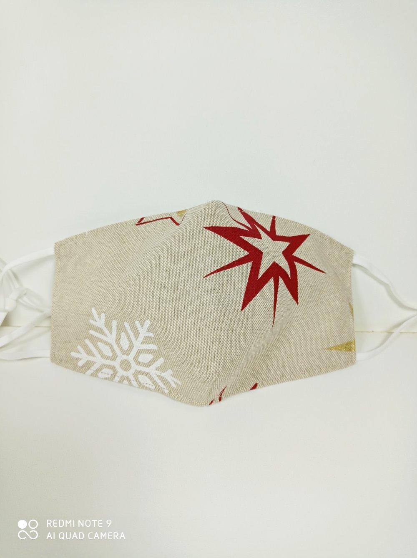 Masque tissu Lin motifs étoiles de Noël
