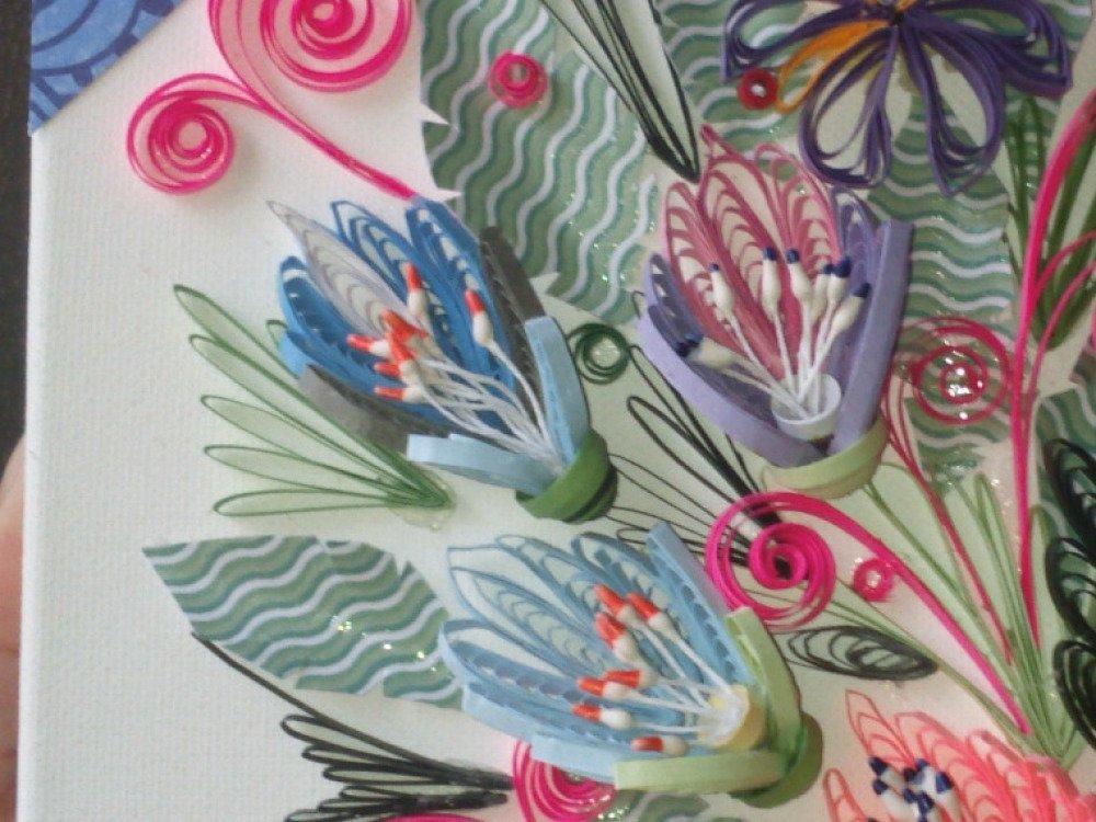 quilling, tableau, fleurs , prénom, décoration chambre enfant ,  personnalisé