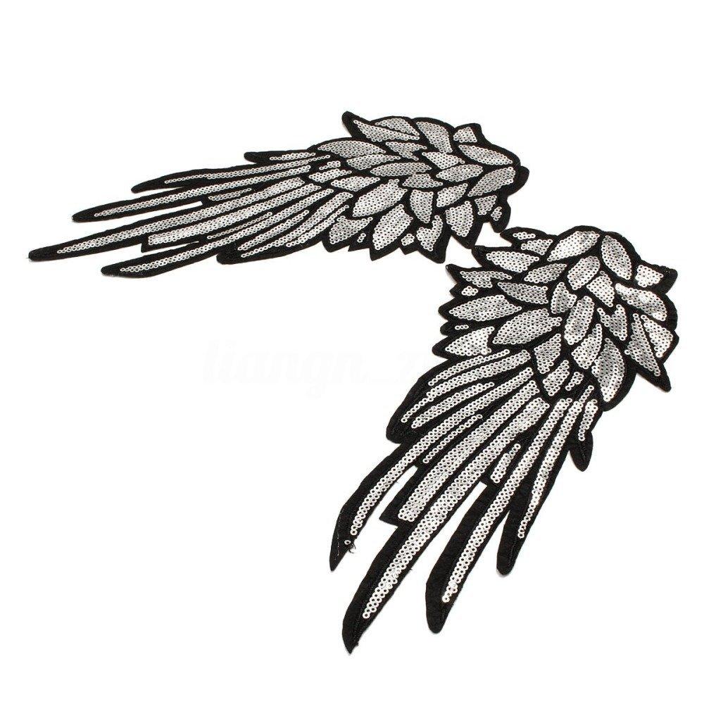 x 1 paire applique-écusson-patch aile d'Ange sequin argenté sur fond noir à coudre 28 x 13 cm @B23