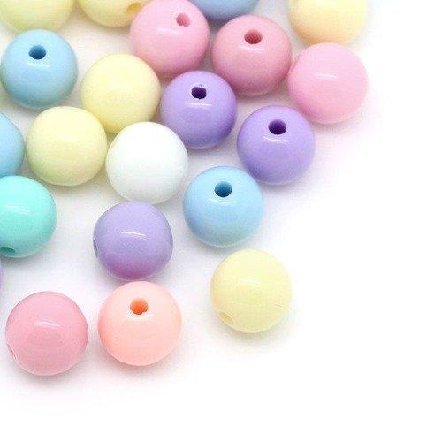 X 50 mixte perles acrylique ronde multicolore pastel 8 mm
