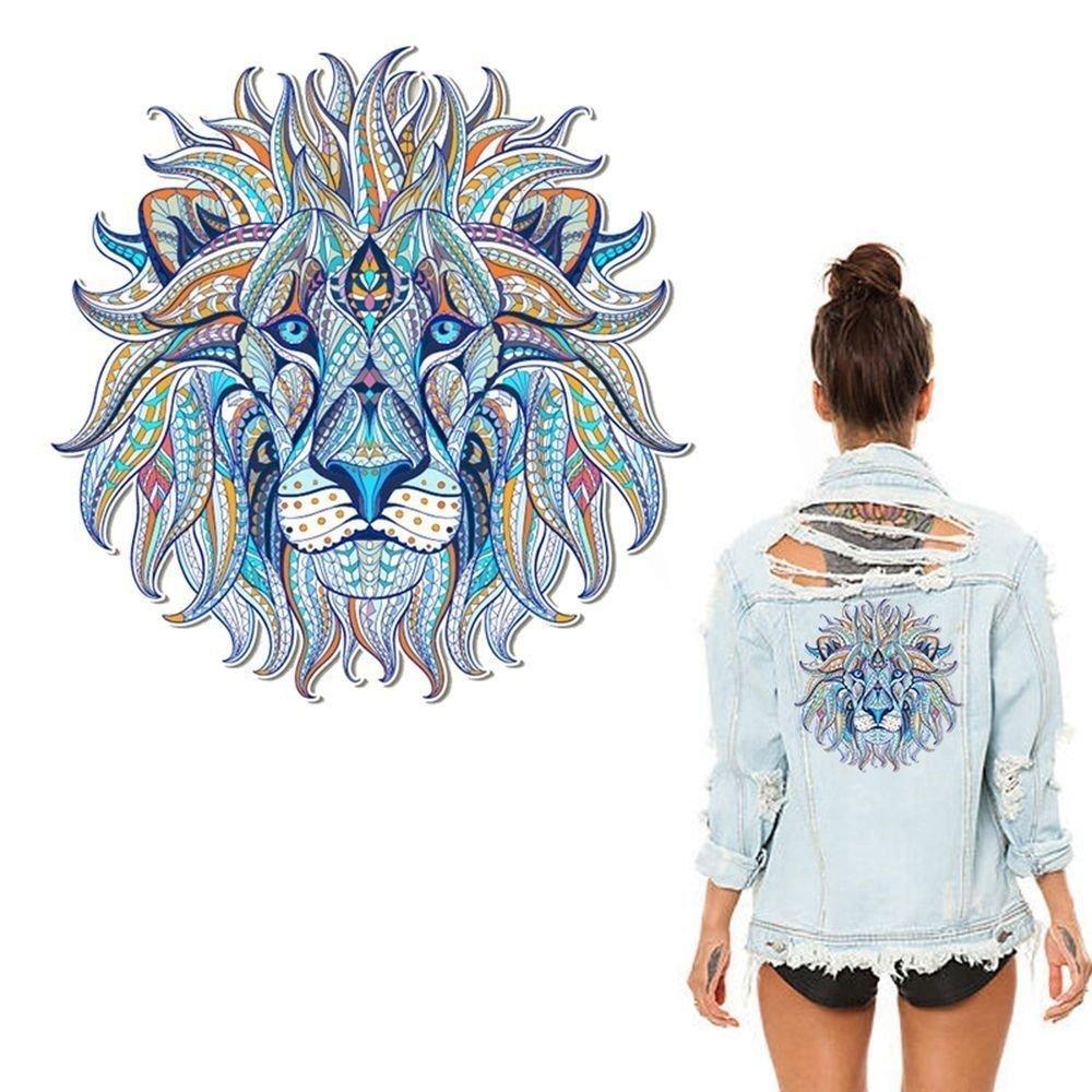 x 1 écusson-patch-transfert thermocollant tete de lion ton bleu 24,5 x 24 cm