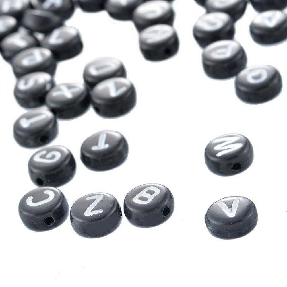 x 250 mixte perles lettres/alphabet A-Z rond noir écriture blanche acrylique 7 mm