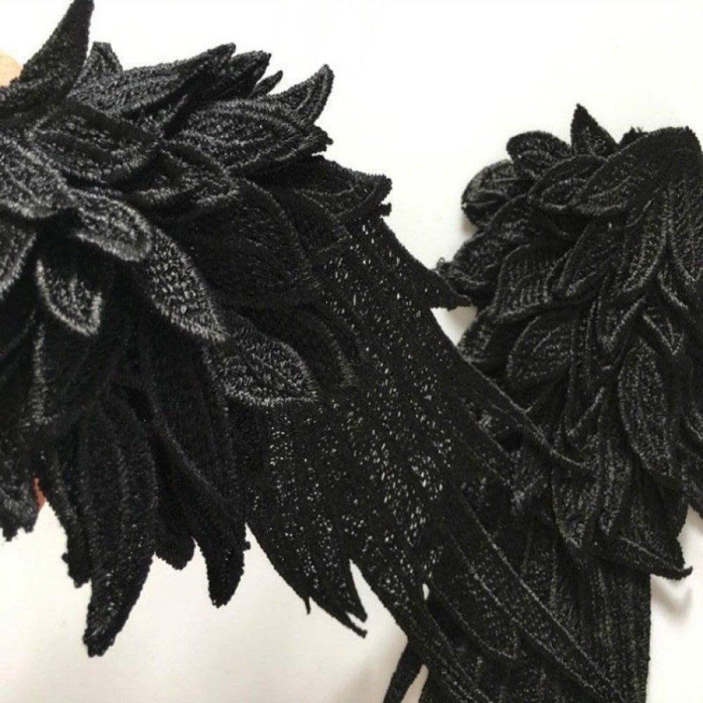x 1 paire applique-guipure dentelle fine aile d'Ange noir à coudre 27 x 12 cm @A