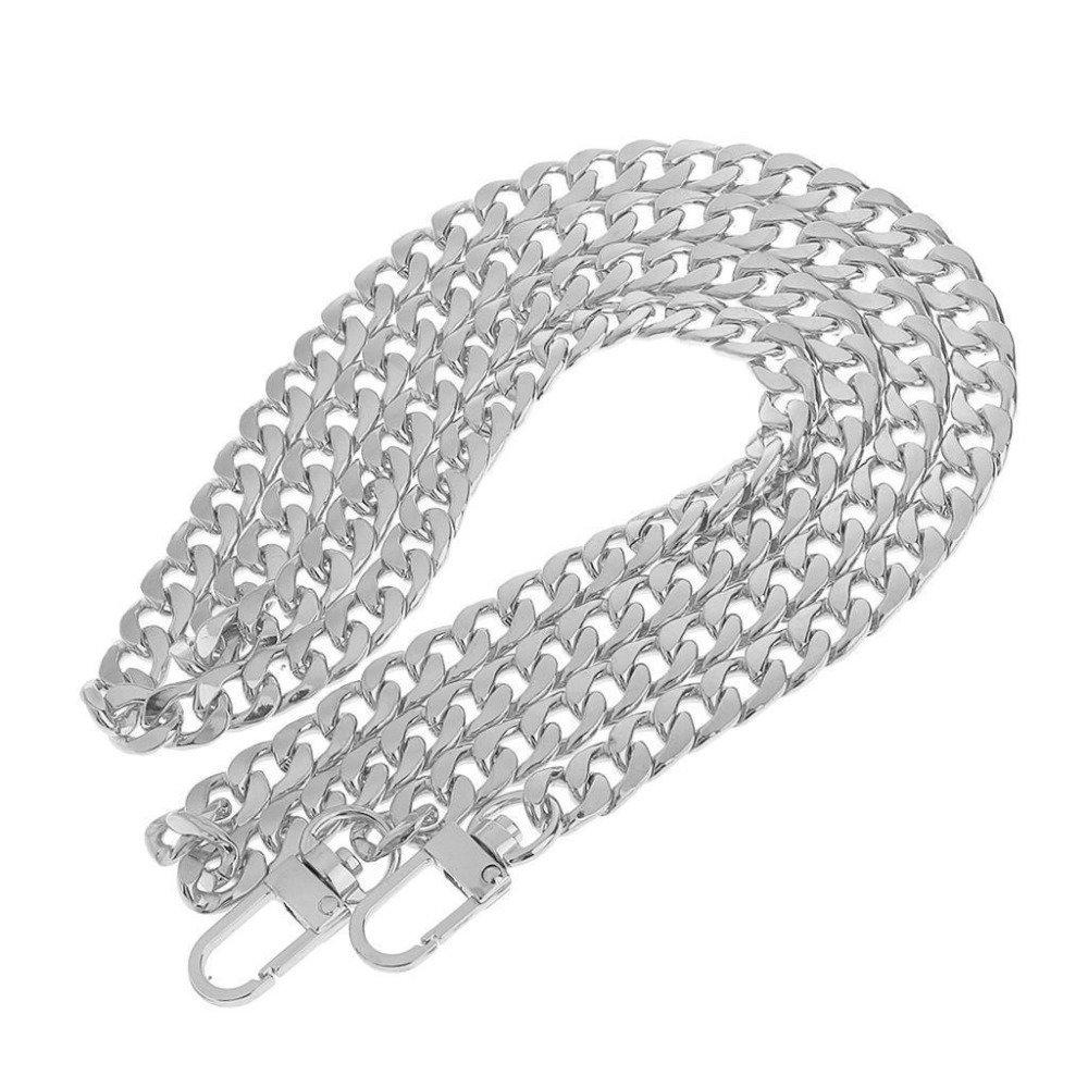 125 cm chaîne à gros maillons forme gourmette de sac à main argenté acier inoxydable