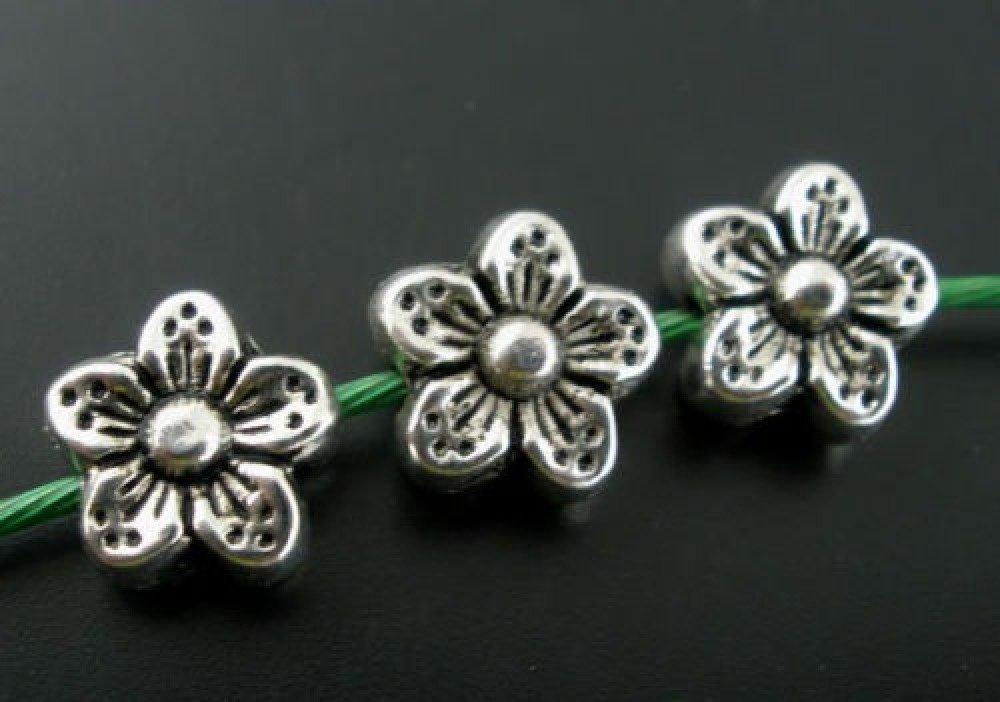 x 10 perles intercalaires fleur 5 pétales métal argent vieilli 9 x 9 mm