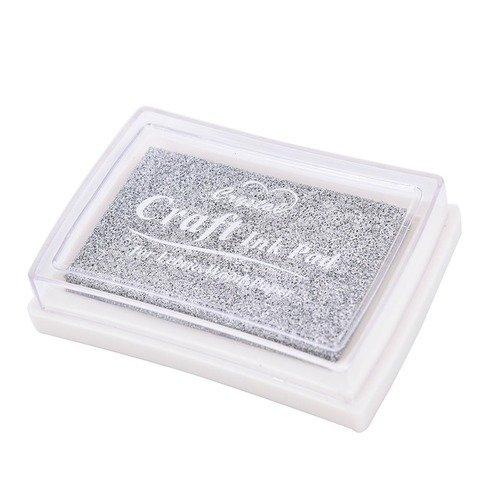 X 1 boite d'encre encreur craft couleur argenté pour tampon 7,5 x 5 cm