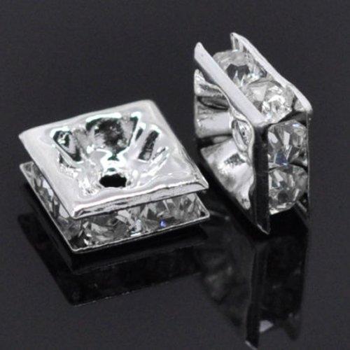10 perles intercalaires strass carré argenté 8 x 8 mm