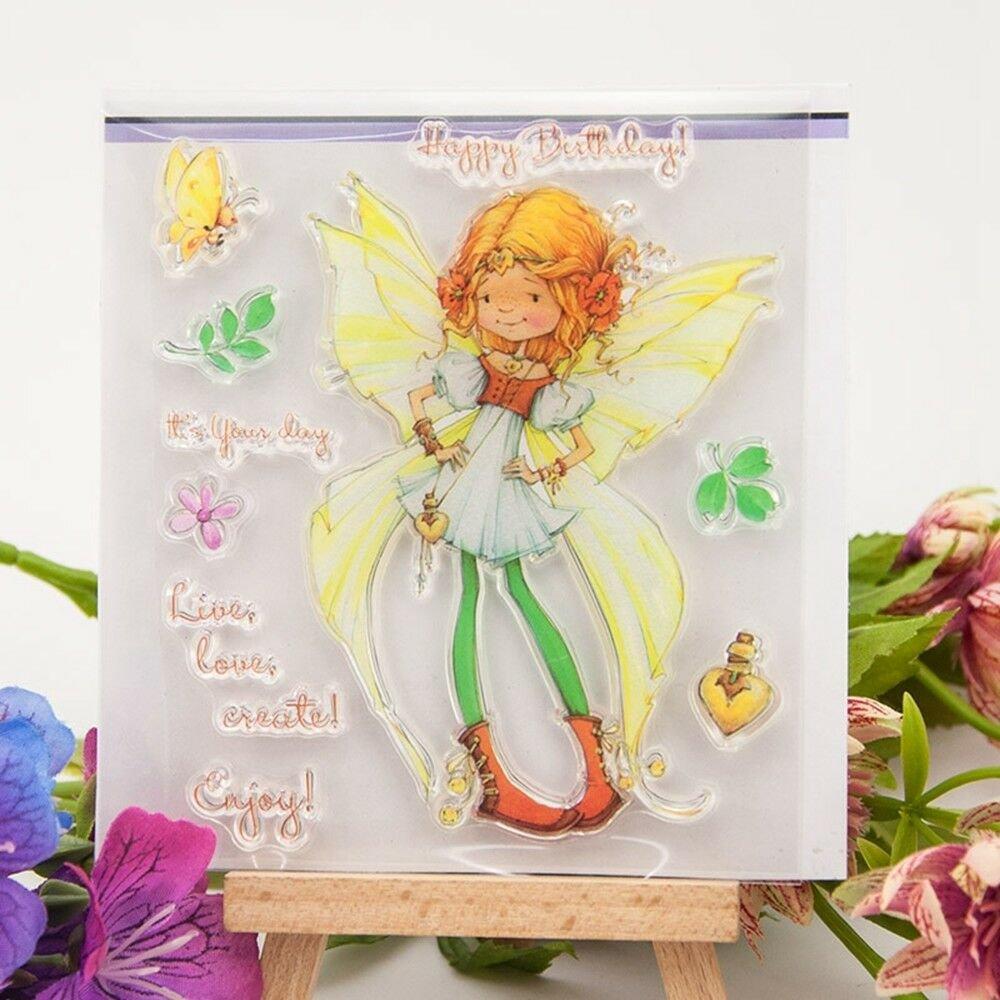 1 planche de tampons clear stamps transparent petite fée multicolore 11 x 10 cm