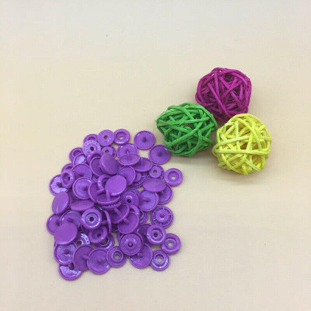 10 boutons pression KAM rond violet foncé T5/12 mm