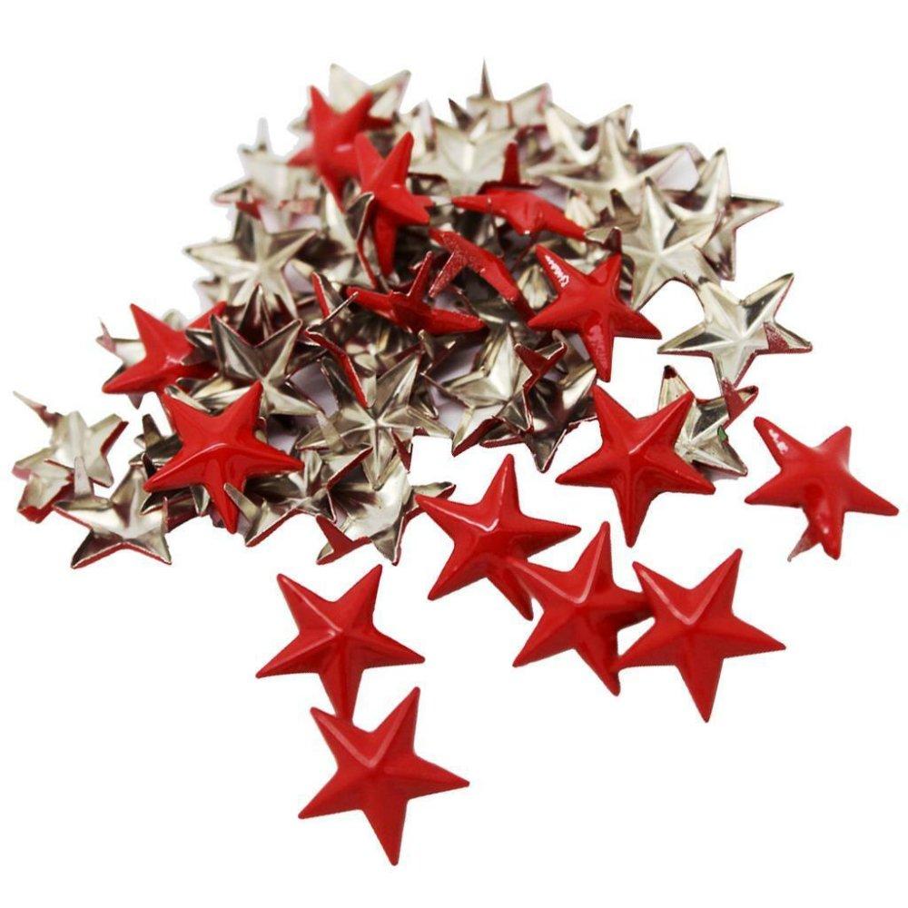 10 rivets clous griffes forme étoile rouge en métal 15 mm
