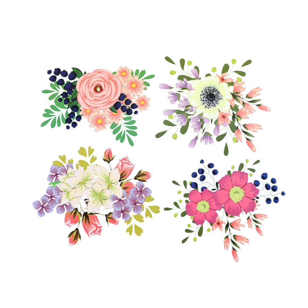 4 mixte écussons patch transferts thermocollant motif fleur multicolore 22 x 18,7 cm