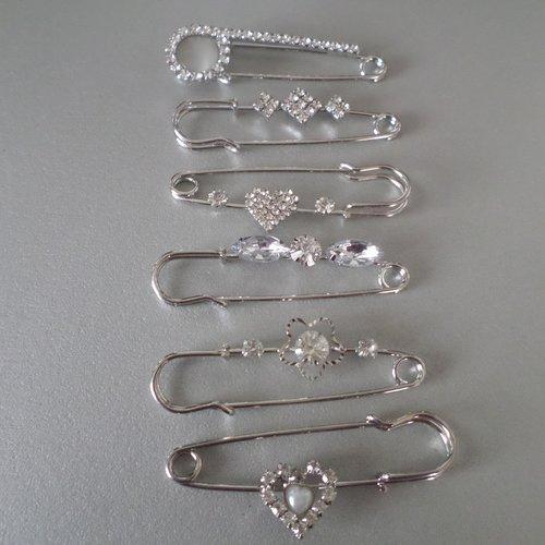 6 mixte broches/épingle à nourrice motif strass cristal en métal argenté(b)