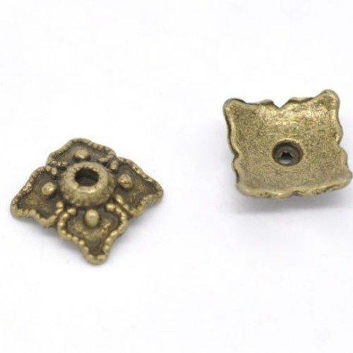 """X 20 perles coupelles carré à motif pour perle""""14/20 mm""""bronze 8 x 8 mm"""
