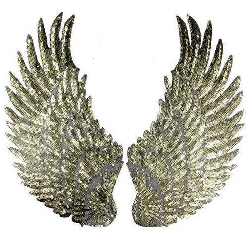 Grand ÉCUSSON PATCH thermocollant Oiseau Rapace Aigle sequin argenté et doré