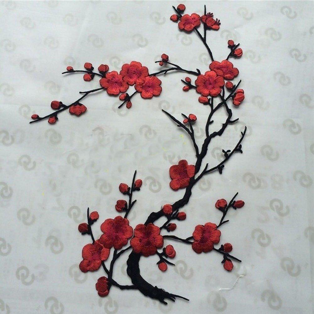 fleur de cerisier rouge 38 X 12 cm ÉCUSSON PATCH BRODE thermocollant