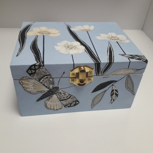 Grande boîte à bijoux bleue à fleurs avec miroir en bois