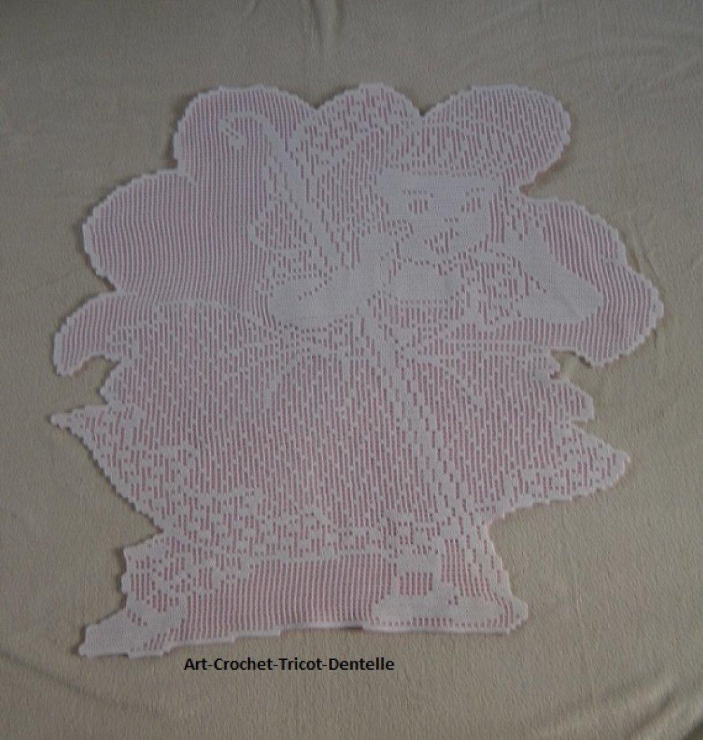 Couverture bébé,châle plaid,Melle Rose,création fait main crochet et polaire.
