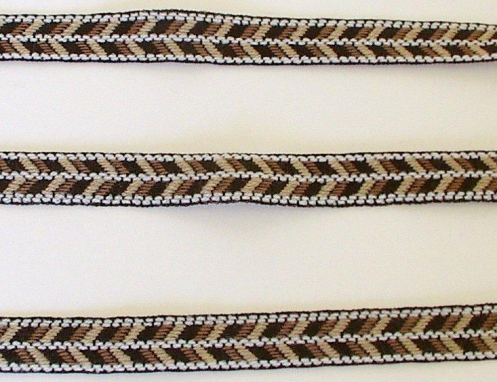 1m rubans tissé, 15mm de largeur marron et beige
