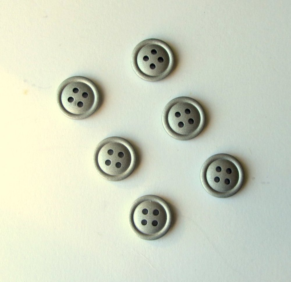 Lot 6 boutons gris argente 15 mm