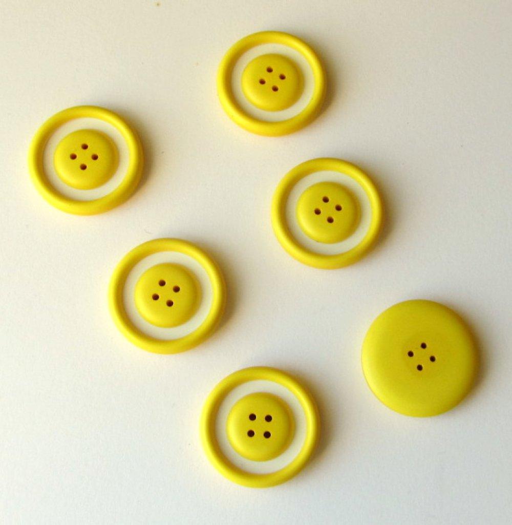 Lot 6 boutons jaune et blanc 26 mm