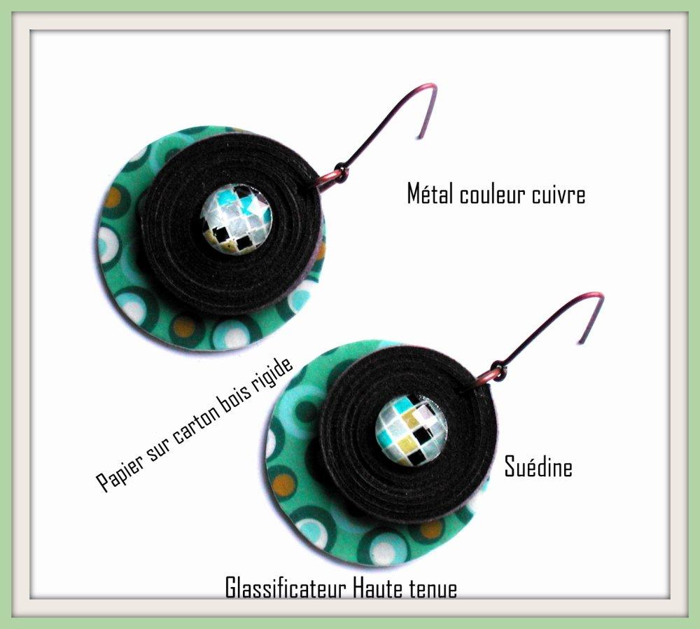 Boucles d'oreilles ronde style années 70, multicolore, graphique