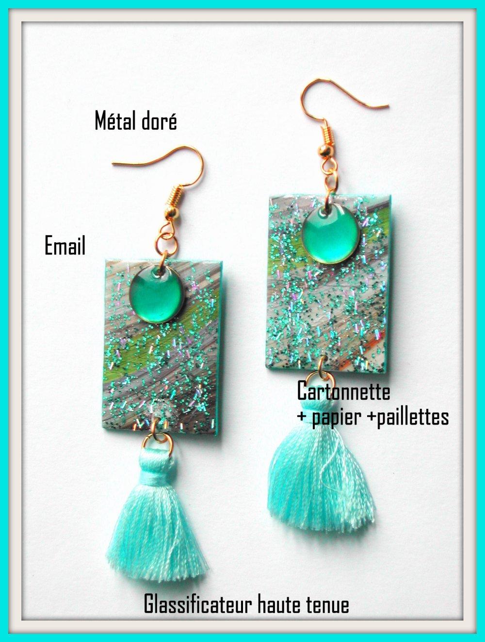 Grandes boucles d'oreilles turquoise, rectangle, pompon, sequin