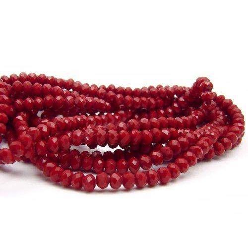 10 perles en verre à facettes 4x3mm rouge foncé