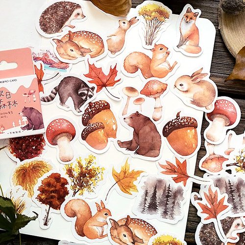 45 stickers animaux et végétaux de la forêt