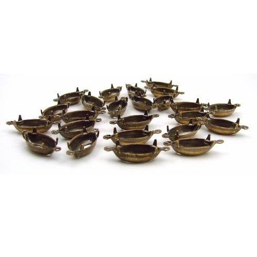 1 support cabochons navettes 15 x 7 mm laiton couleur bronze ancien