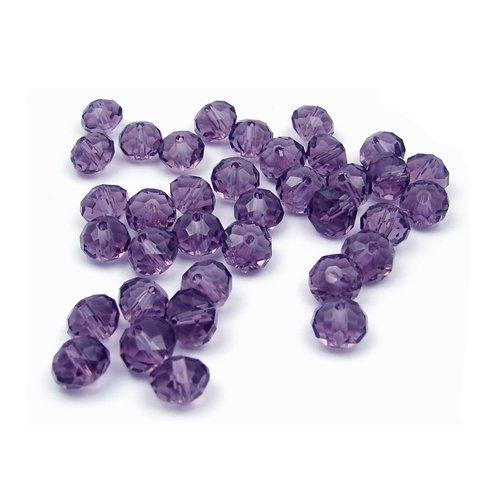 10 perles en verre à facettes 8x6mm violet