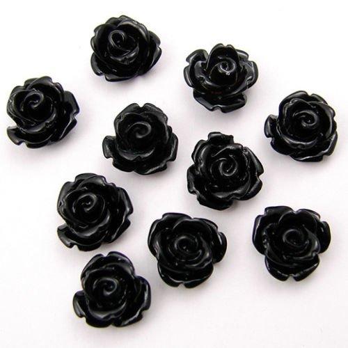 10 cabochons en résine roses 10mm noir