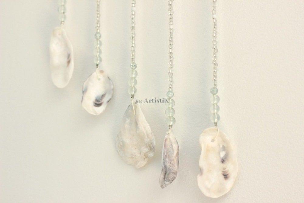 Mobile bois flotté – Carillon coquillages perles - deco nature – idée cadeau zen