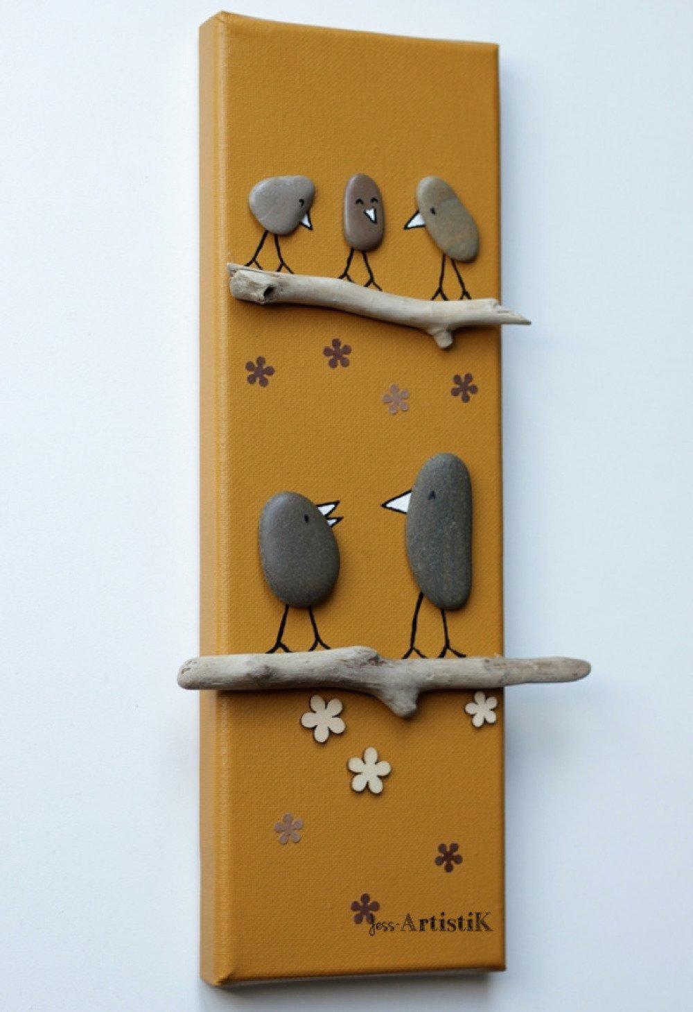 Faire Un Tableau Avec Des Galets tableau galets, tableaux oiseaux galets, tableaux bois flotté oiseaux,  cadeau noel famille