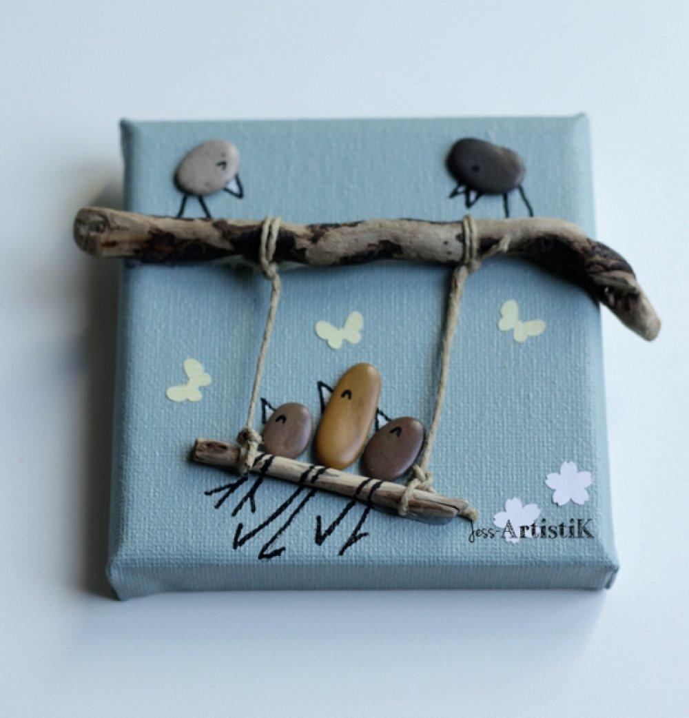Faire Un Tableau Avec Des Galets tableau galets, oiseaux balançoire, bois flotté, idée cadeau original,  famille, chambre enfant