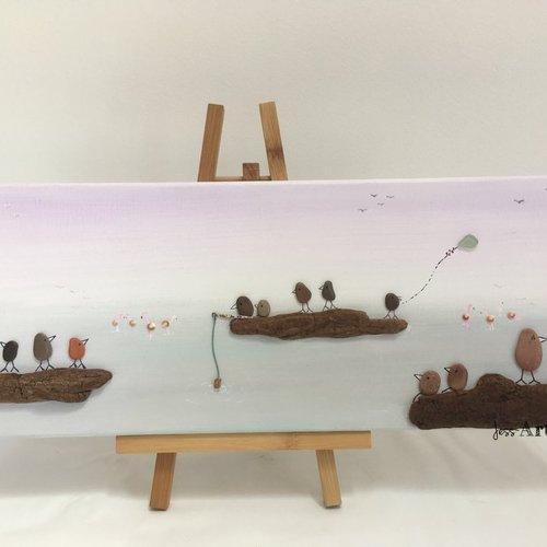 Tableau galets, art galets bois flotté, oiseaux, flamants rose, tableau grand format parme gris vert d'eau