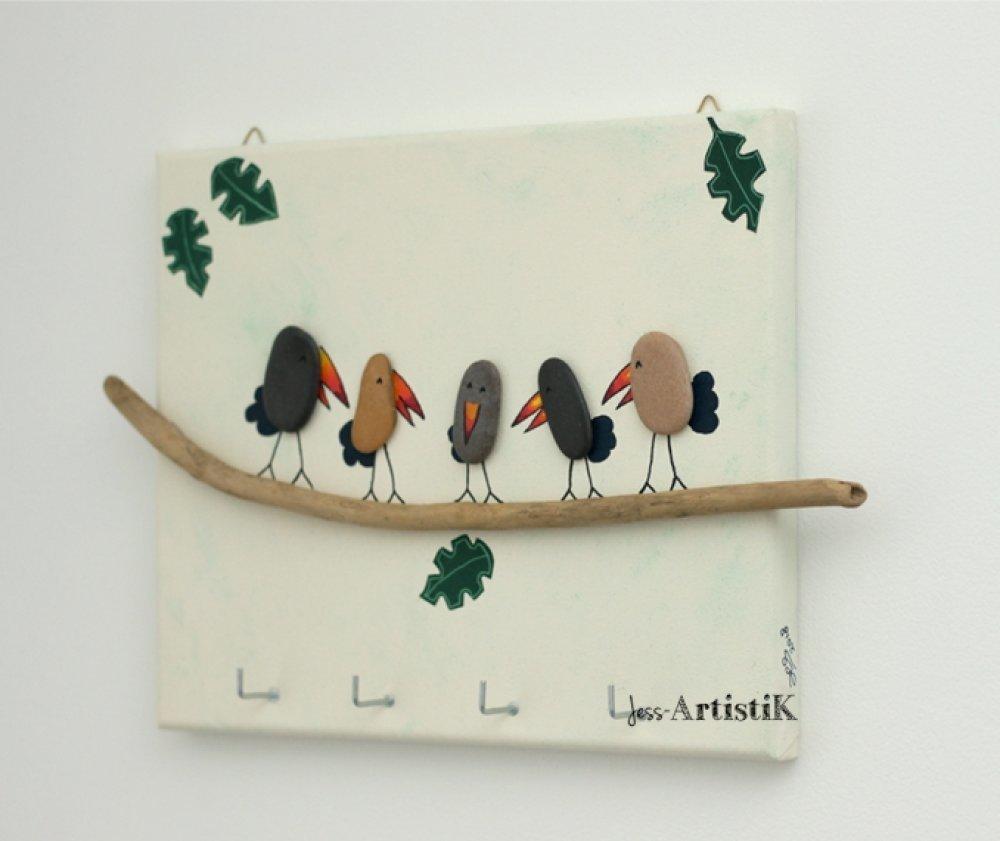 Décoration Entrée De Maison tableau galets toucans jungle rangement clé, bois flotté galets, déco  entrée, maison famille