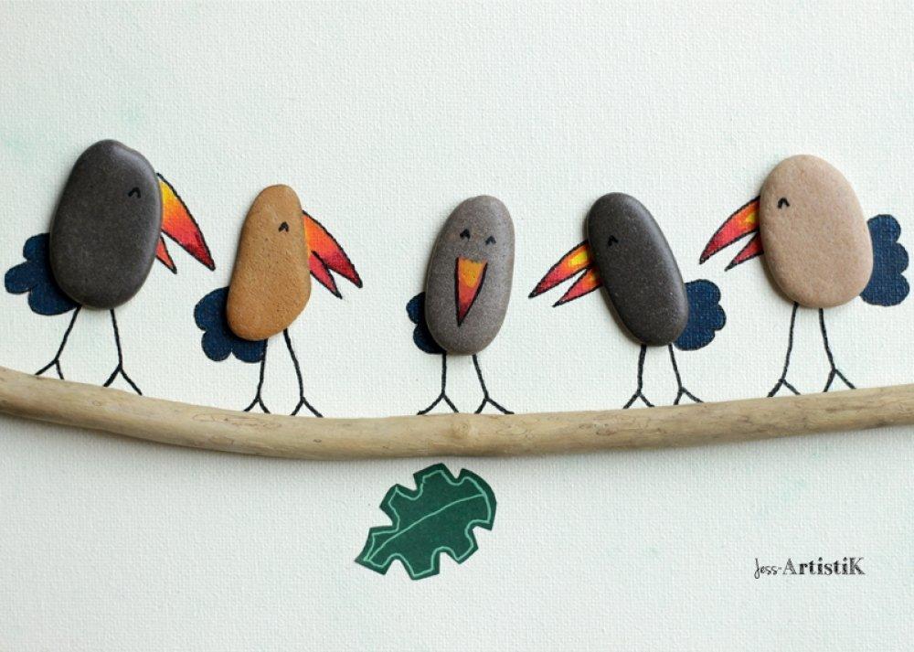 Tableau galets toucans jungle rangement clé, bois flotté galets, déco entrée, maison famille