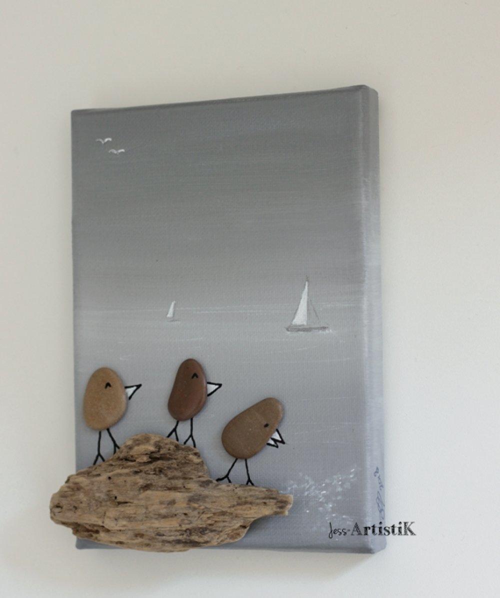 Faire Un Tableau Avec Des Galets tableau galets bois flotté oiseaux, tableau bord de mer gris
