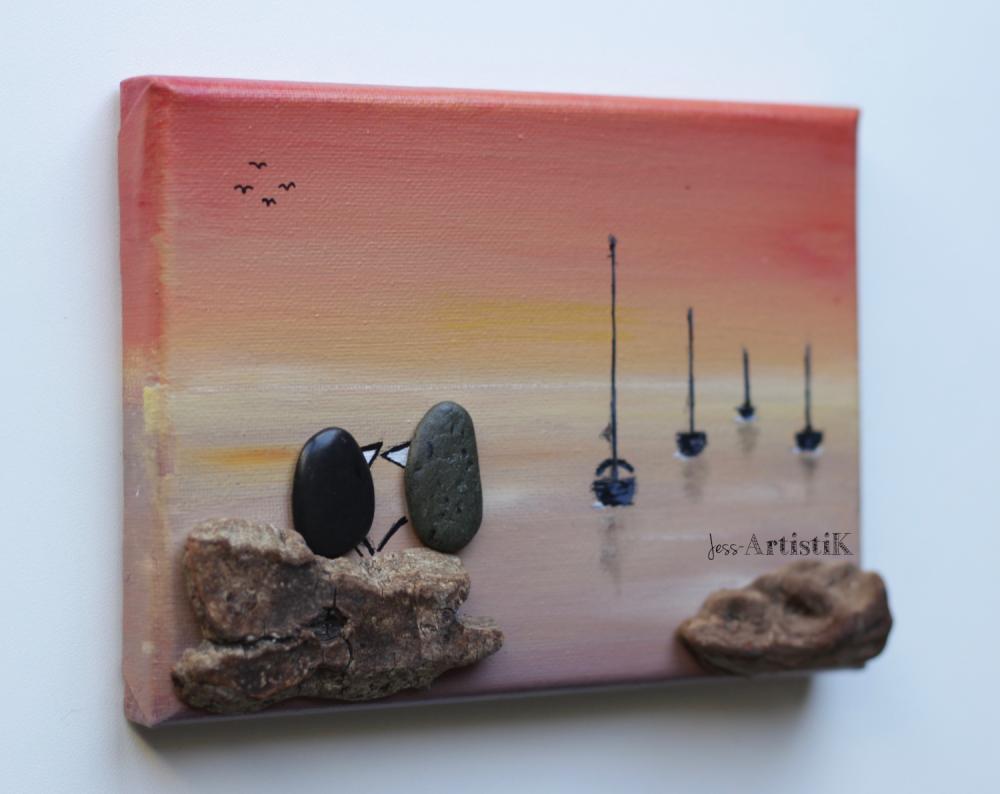 Faire Un Tableau Avec Des Galets tableau galets bois flotté, tableau oiseaux amoureux, saint valentin