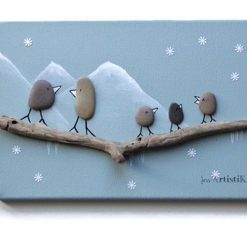 Tableau galets bois flotte, deco oiseaux montagne, tableau vert