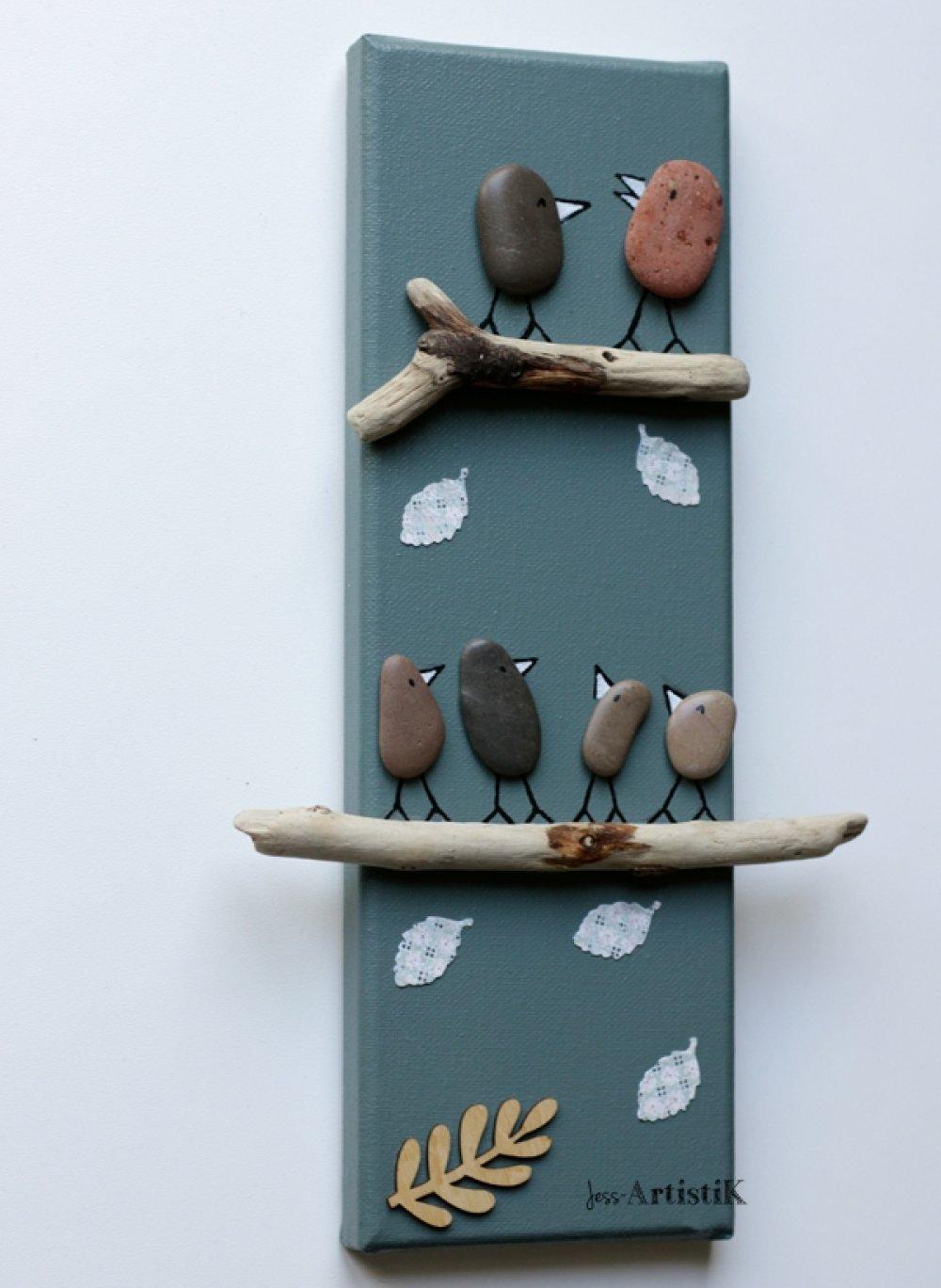 Tableau galets oiseaux, tableau bois flotté vert sapin, famille