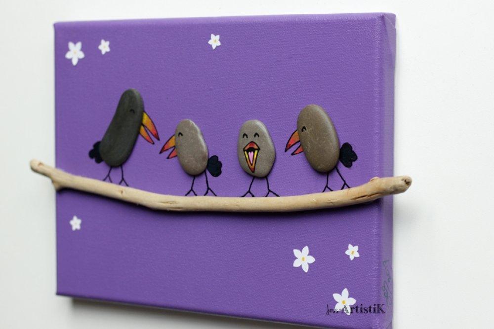 Tableau violet, Tableau galets oiseaux, deco bois flotté galets de plage