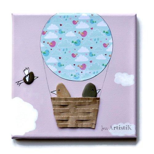 Tableau galets oiseaux, tableau rose pastel oiseaux montgolfière