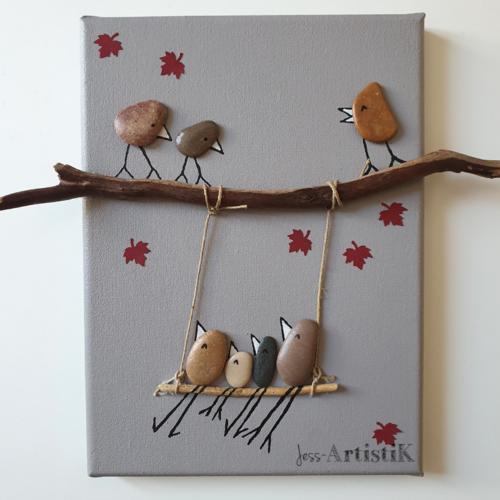 Tableau, tableau galets beige oiseaux balançoire