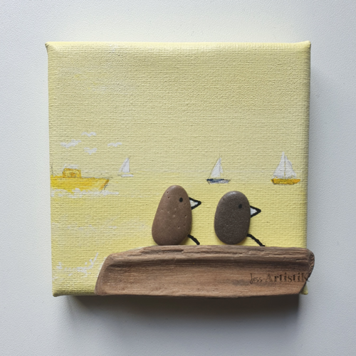 Mini tableau galets oiseaux mer couple